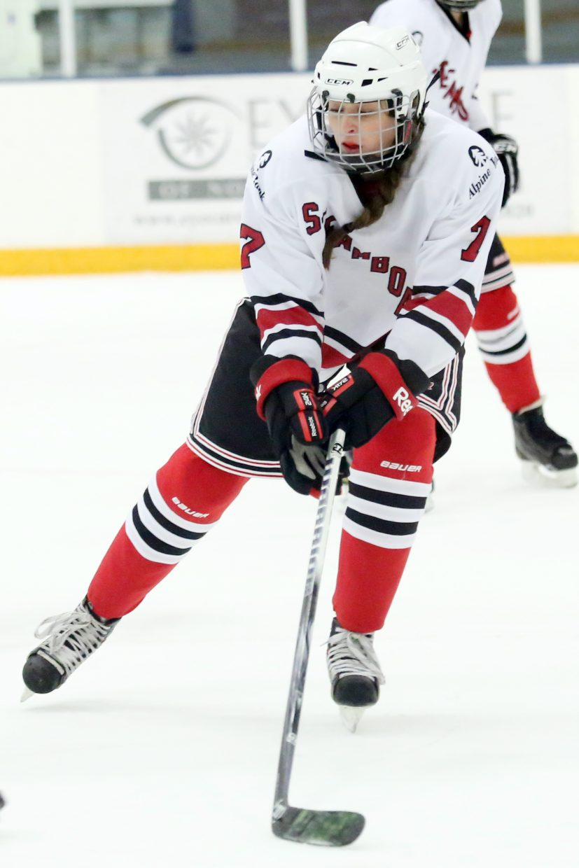 Steamboat's Jordyn Hetrick plays defense against Colorado Select on Sunday at Howelsen Ice Arena.