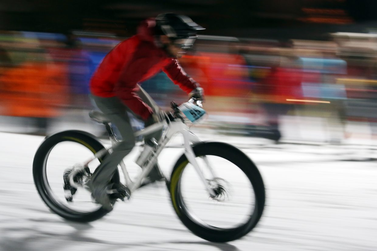 Kyle Quinn competes in Friday's inaugural Cool Dual Bike Race at the Steamboat Ski Area. Quinn took third in the men's class.