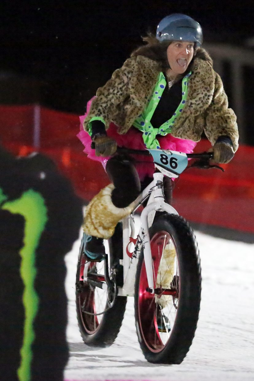 Mindy Mulliken competes in Friday's inaugural Cool Dual Bike Race at the Steamboat Ski Area. Mulliken won the women's class.