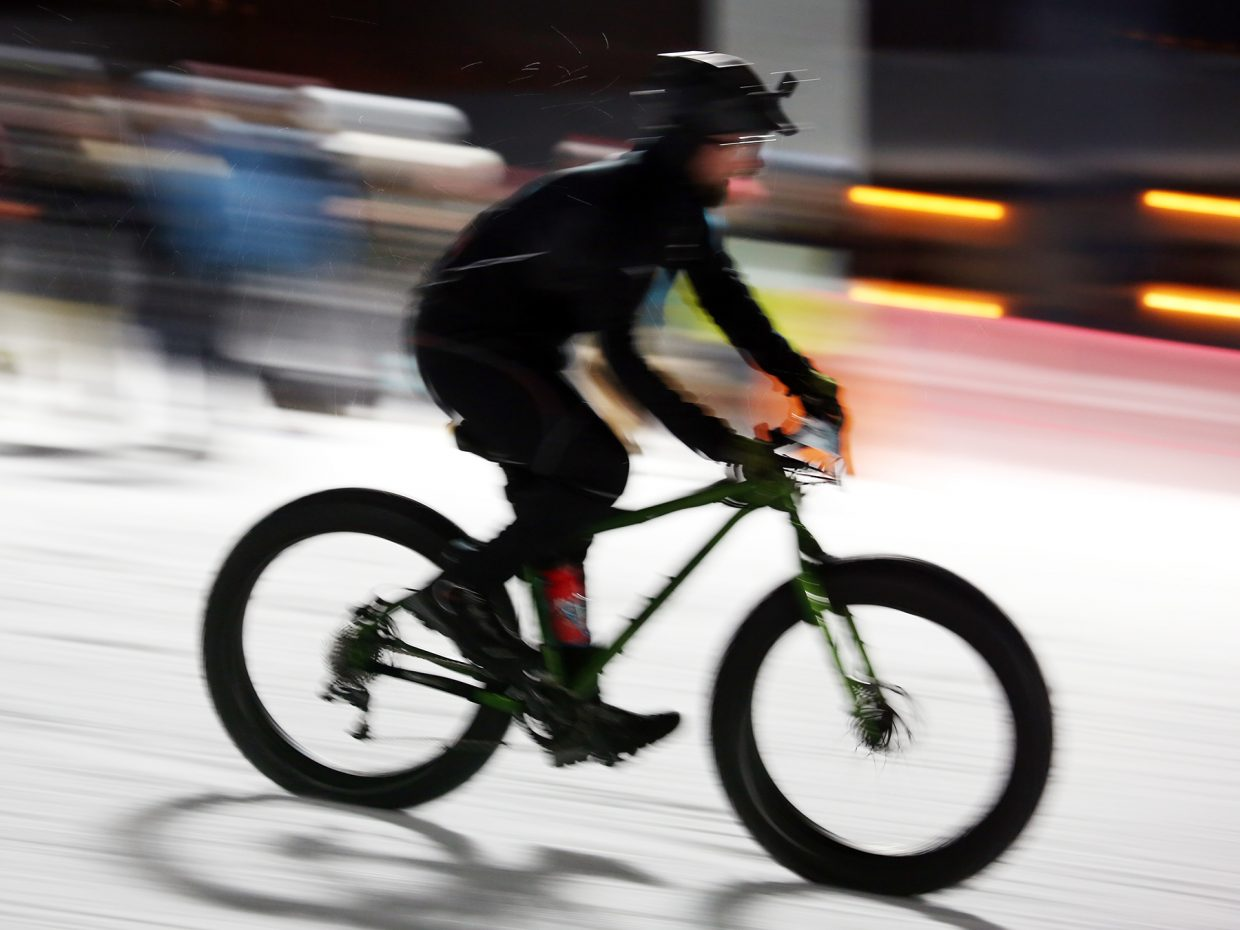 Aaron Ninness competes in Friday's inaugural Cool Dual Bike Race at the Steamboat Ski Area. Ninness was second in the men's class.