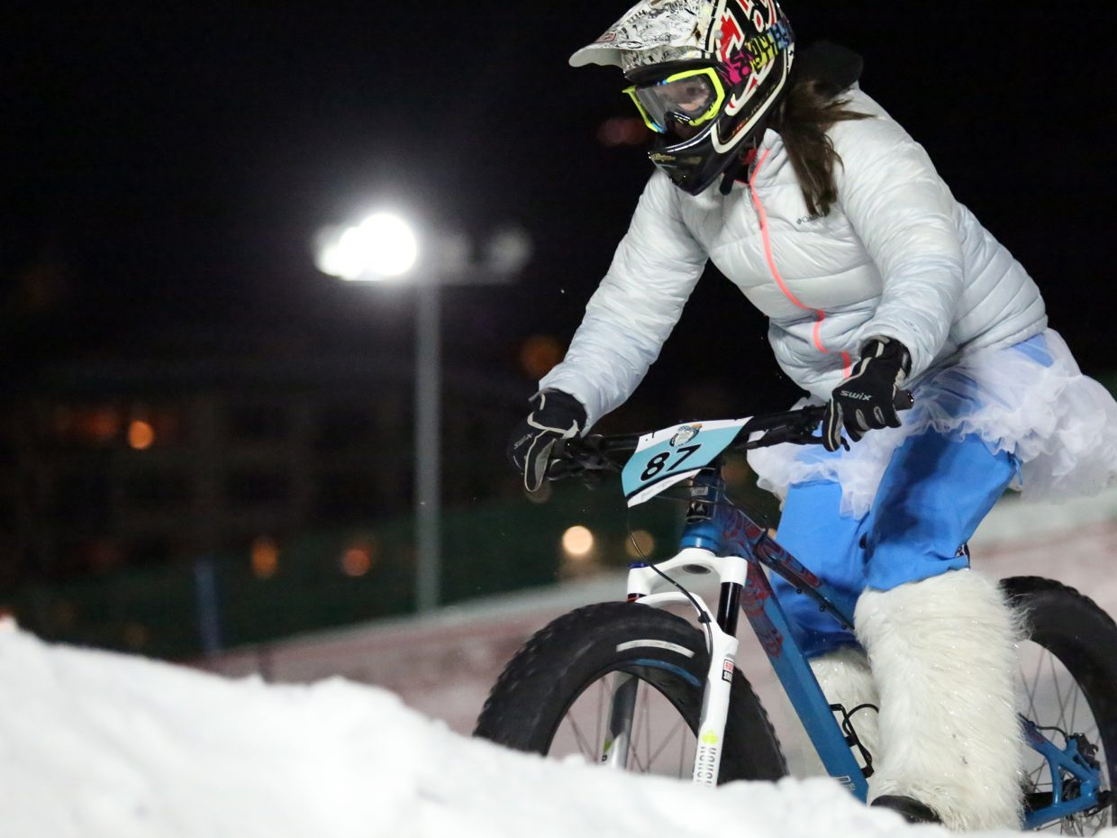 Kyra McCoy competes in Friday's inaugural Cool Dual Bike Race at the Steamboat Ski Area. She was third among women.