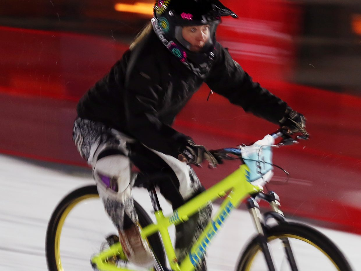 Gina Grether competes in Friday's inaugural Cool Dual Bike Race at the Steamboat Ski Area.