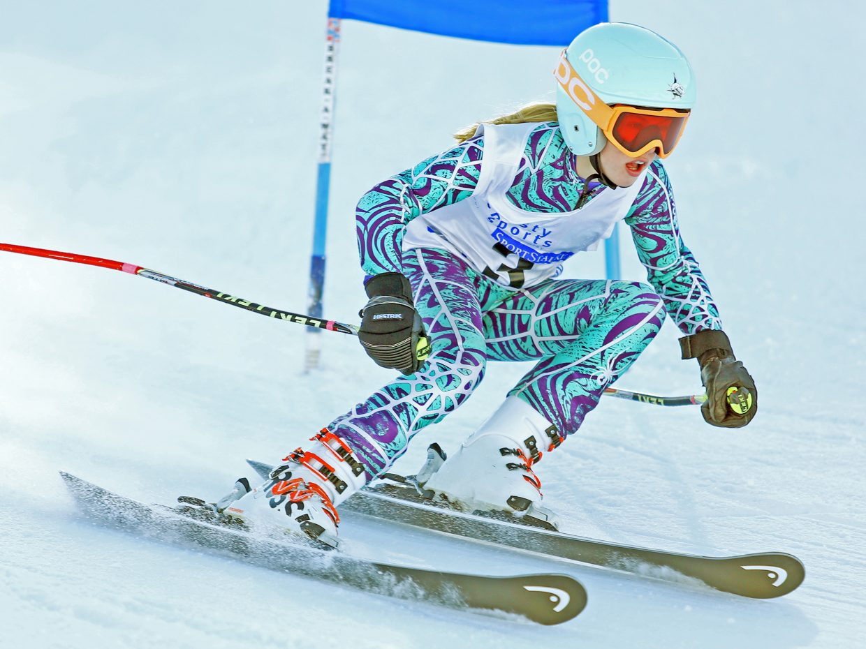 Emily Craig competes in Saturday's Steamboat Cup Alpine skiing dual at Howelsen Hill. Craig won the girls U14 bracket as well as the overall girls title.