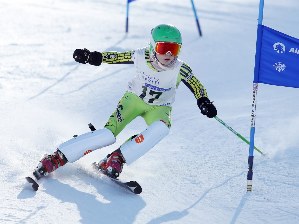 Annika Ort competes in Saturday's Steamboat Cup Alpine skiing dual at Howelsen Hill. Ort took first in the girls U12 bracket.