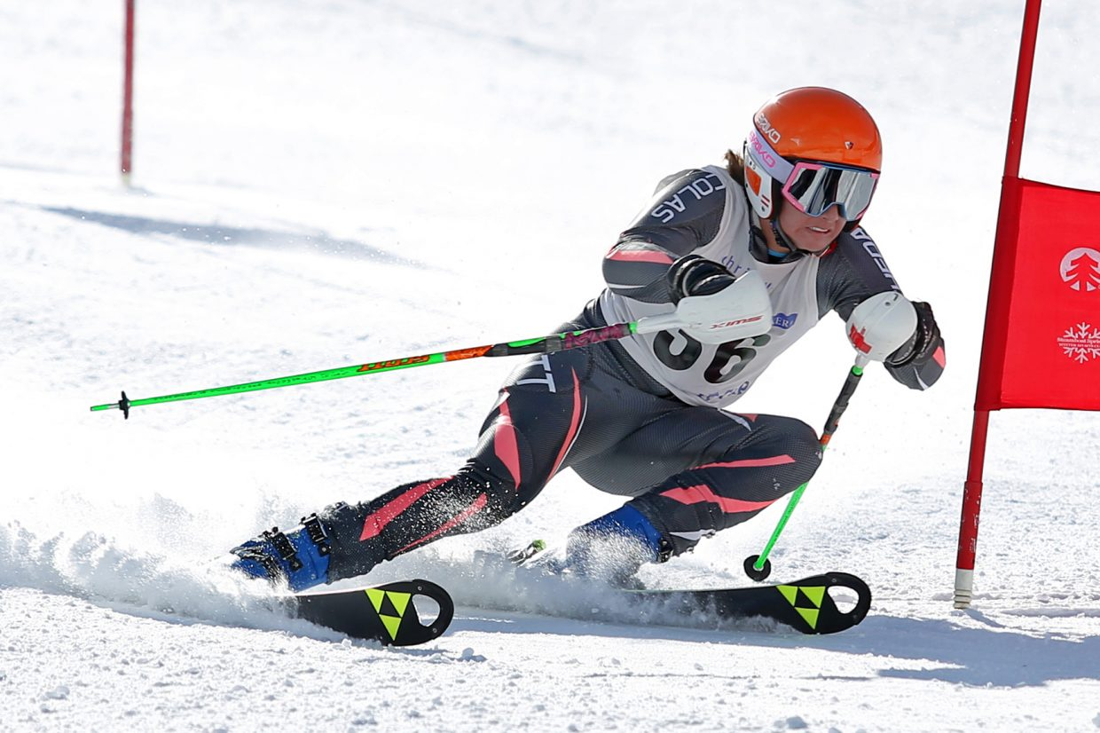 Nico Richeda competes in Saturday's Steamboat Cup Alpine skiing dual at Howelsen Hill. Richeda won the boys U14 bracket, and defeated his younger brother, U12 winner Spencer Richeda, for the overall boys title.