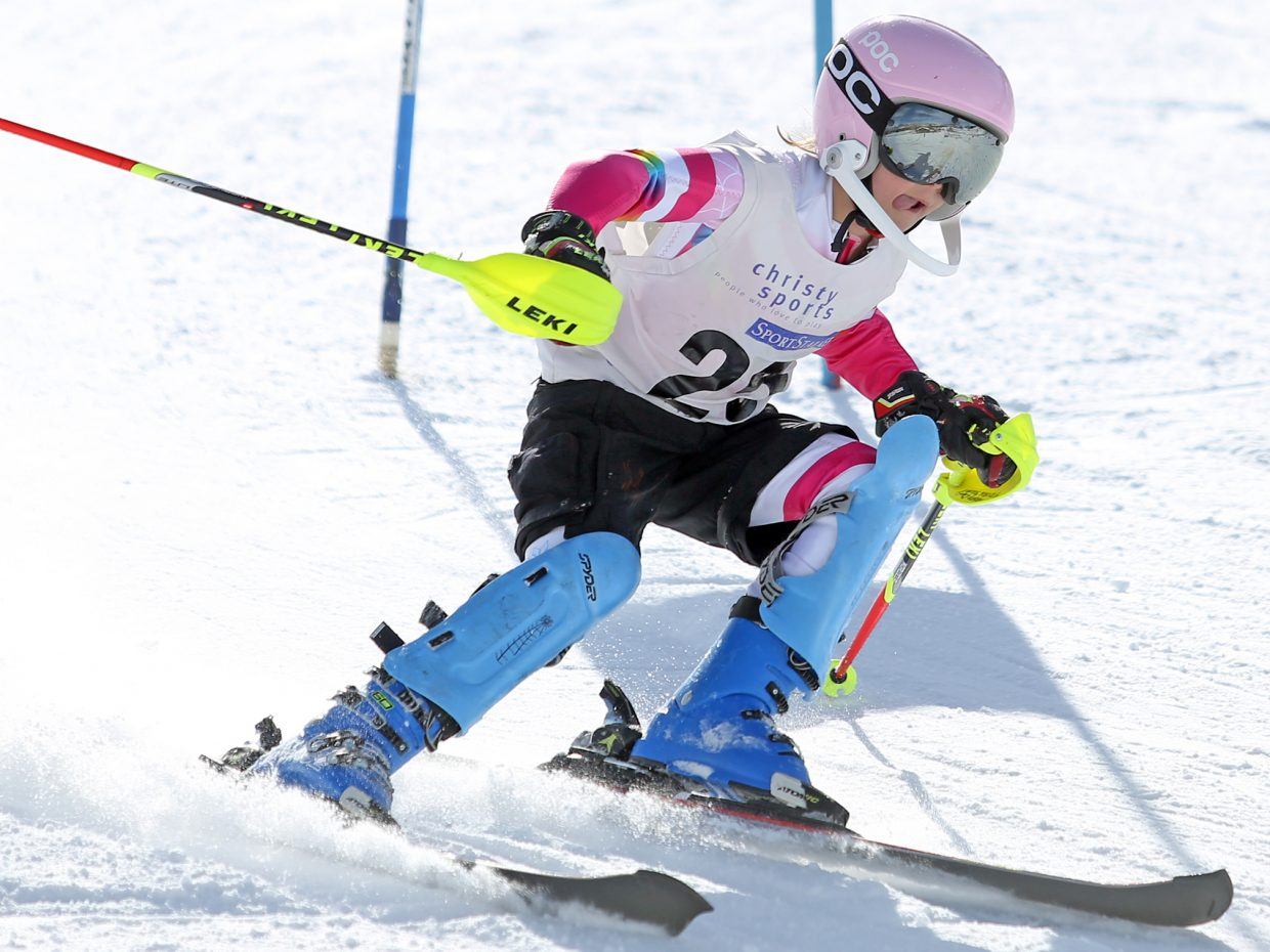 Avery Duty competes in the girls U12 bracket of Saturday's Steamboat Cup Alpine skiing dual at Howelsen Hill.