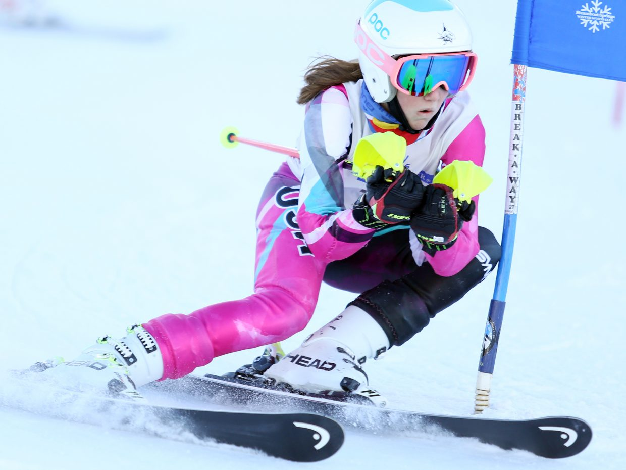 Molly Mueller competes in Saturday's Steamboat Cup Alpine skiing dual at Howelsen Hill. She finished second in the girls U14 bracket.