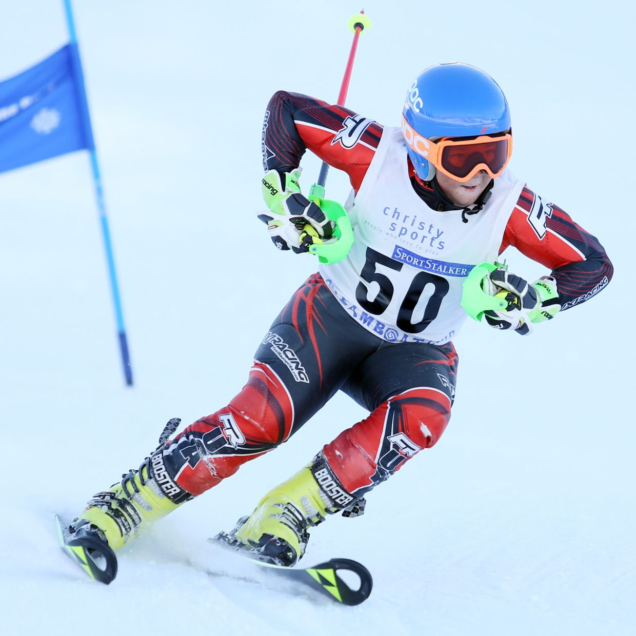 """Spencer """"Speedy"""" Richeda competes in Saturday's Steamboat Cup Alpine skiing dual at Howelsen Hill. Richeda won the U12 boys bracket."""