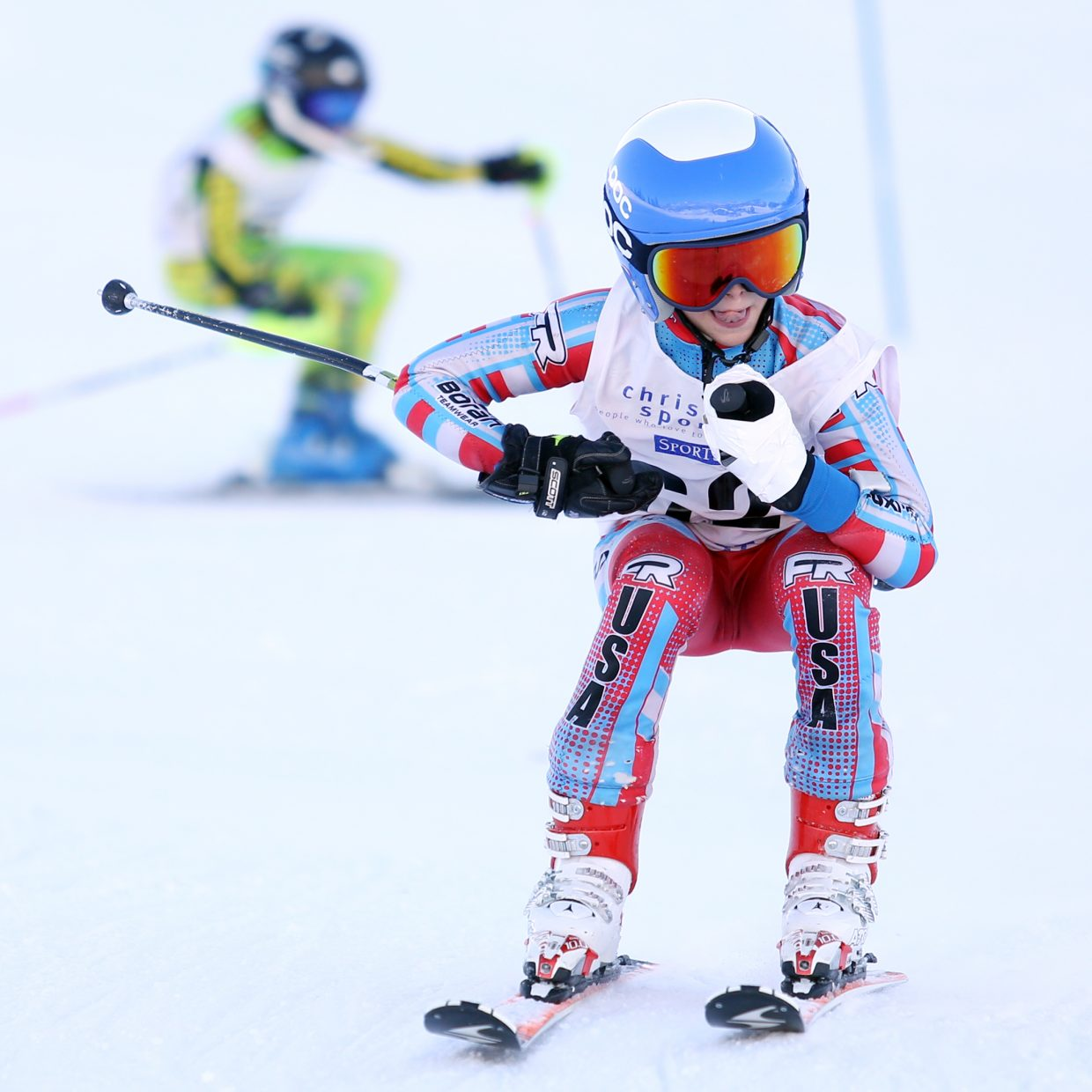 Colin Kagan competes in Saturday's Steamboat Cup Alpine skiing dual at Howelsen Hill. Kagan was third in the U12 boys bracket.