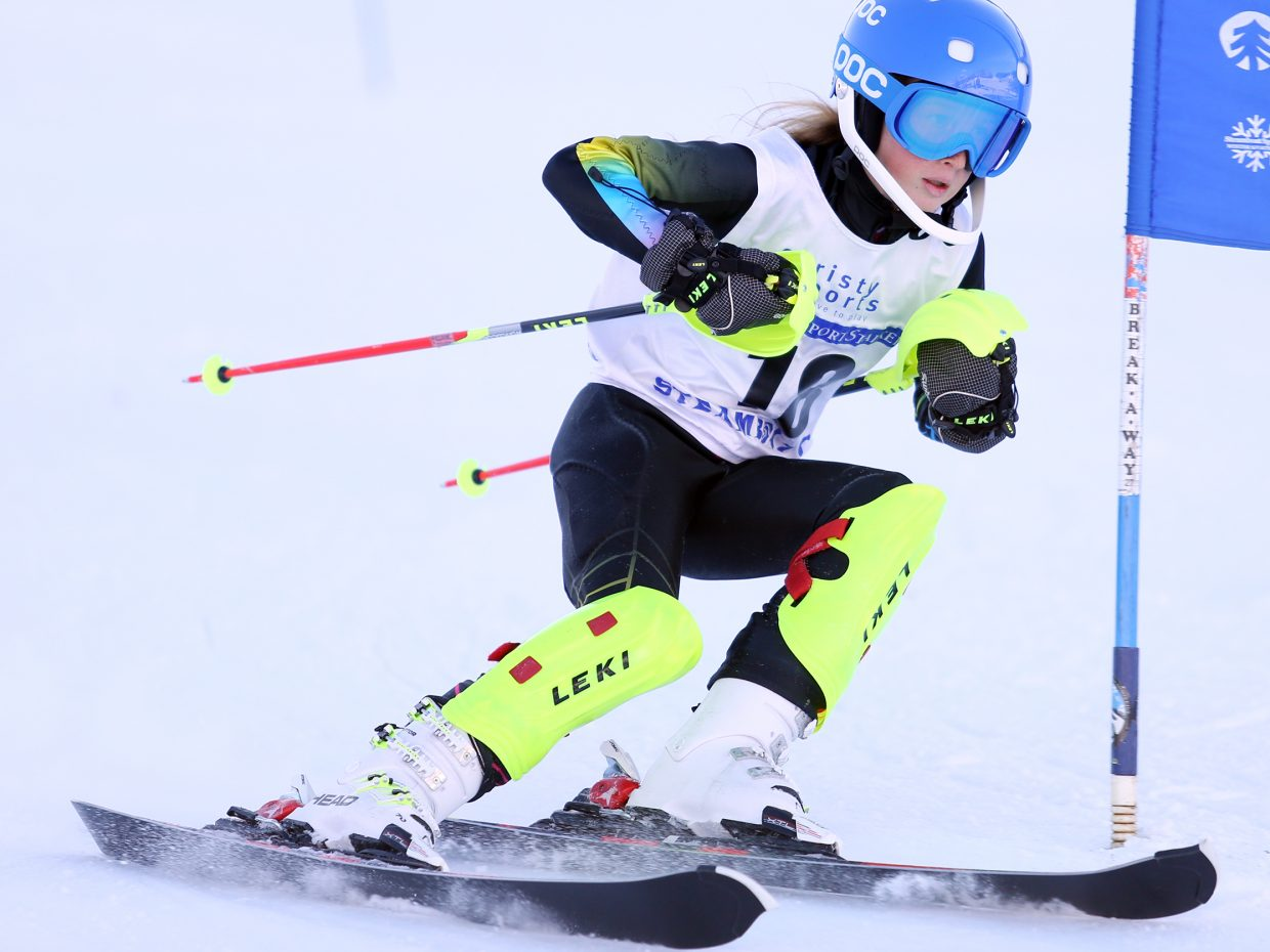 Rylee McLouth competes in Saturday's Steamboat Cup Alpine skiing dual at Howelsen Hill. She finished second in the girls U12 bracket.