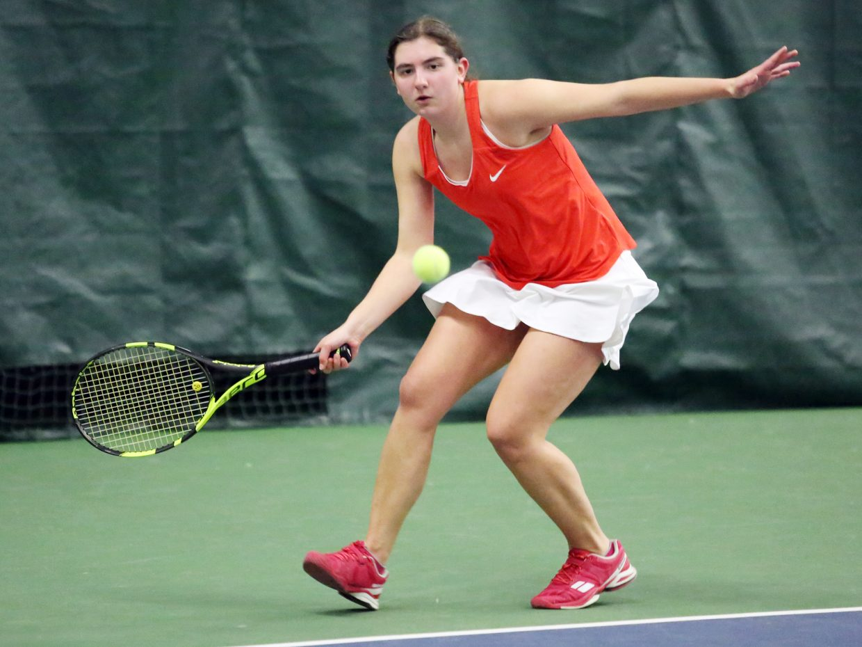 Steamboat Springs High School junior Maddie Thompson competes in the No. 2 singles match against Aspen on Friday at The Tennis Center. The Sailors won, 5-2, in their season-opener.