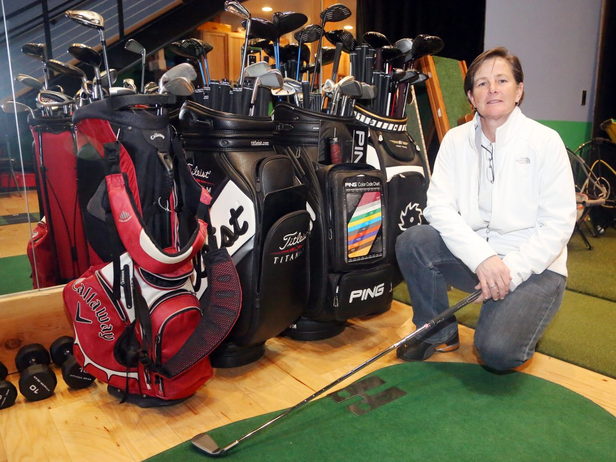 Golf professional Shannon Hanley, seen here at her Copper Ridge golf studio, is the new head coach of the Steamboat Springs High School girls' golf team. The program is in its first months of existence.
