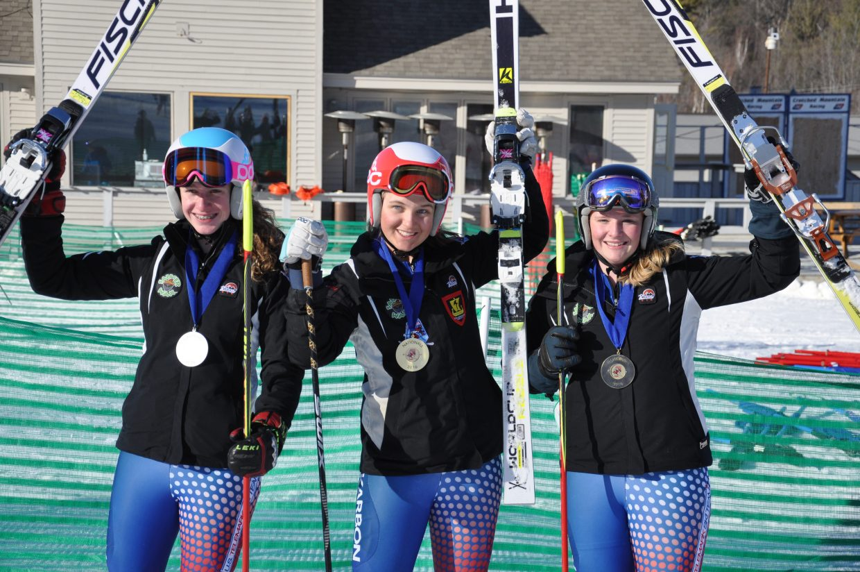 Steamboat Springs skier Lyta Foulk, center, won the overall national title at last week's FIS Telemark National Championships in New Hampshire.