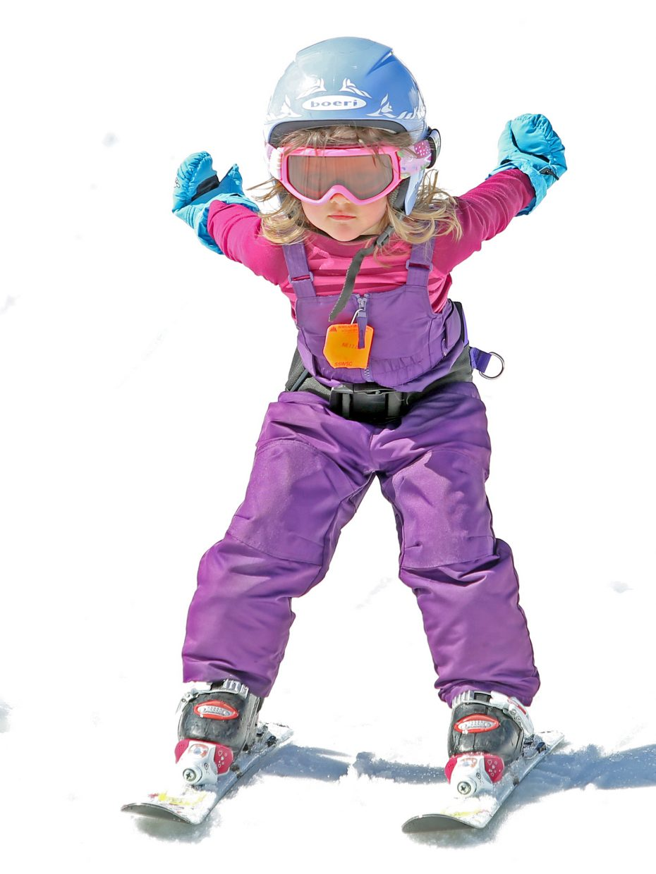 Stagecoach's Luisa Mikelsons, 3, takes part in Howelsen Hill's free ski day on Sunday.