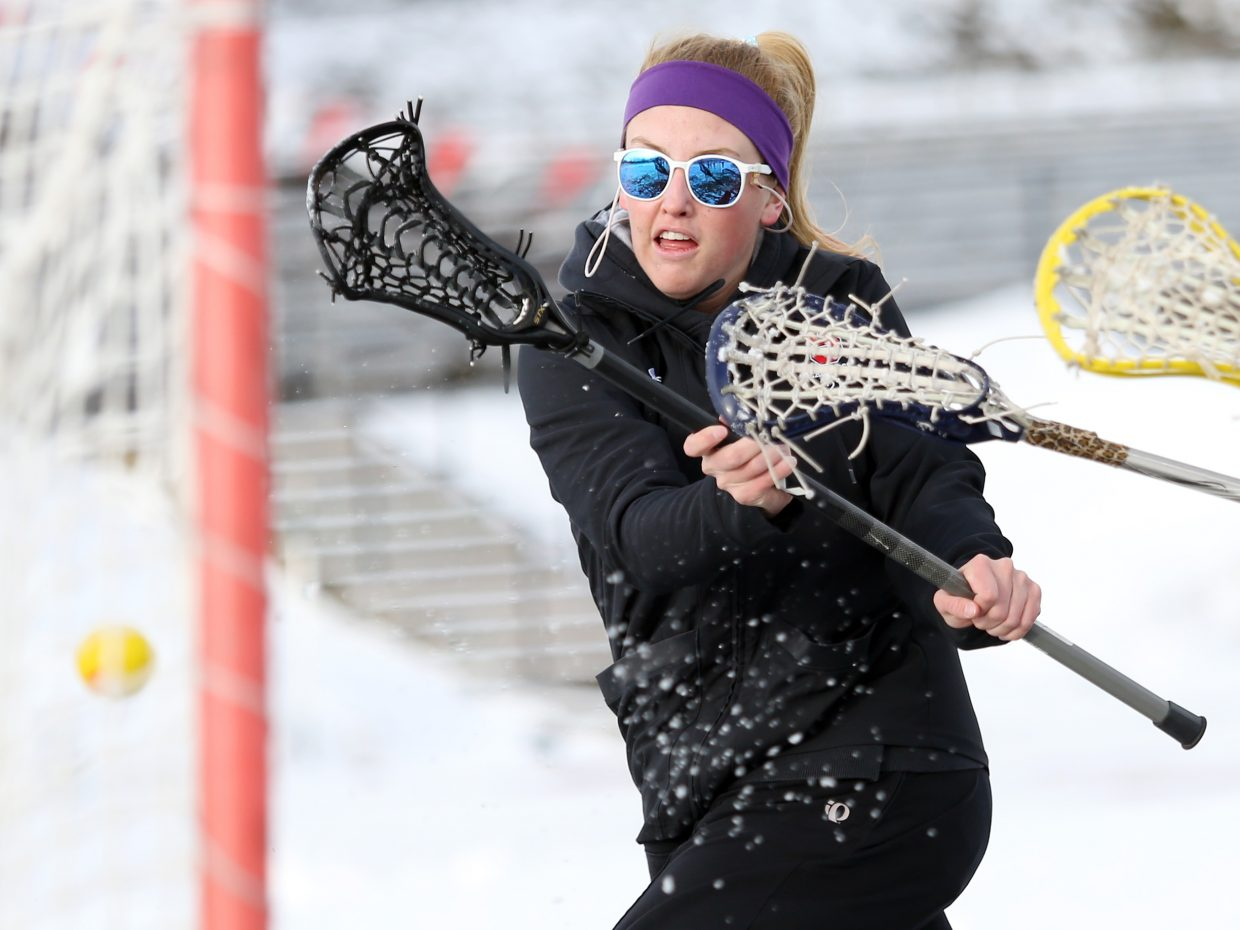 Steamboat Springs senior Becky Brown scores a goal during practice Wednesday at Gardner Field. The SSHS girls lacrosse team hosts Durango Saturday morning in its home opener.