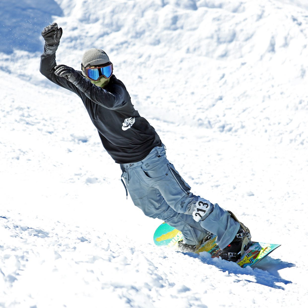 Steamboat Springs snowboarder and X Games gold medalist Matt Ladley competes in the men's open class of Saturday's third annual Slash and Burn Banked Slalom at Howelsen Hill. Ladley finished second in a field of nearly 100.