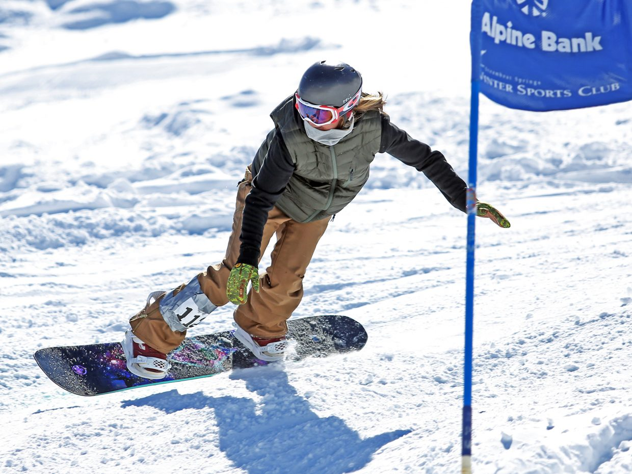 Tori Koski competes in the women's open class of Saturday's third annual Slash and Burn Banked Slalom at Howelsen Hill. Koski, the snowboard program director for the Steamboat Springs Winter Sports Club, took first.