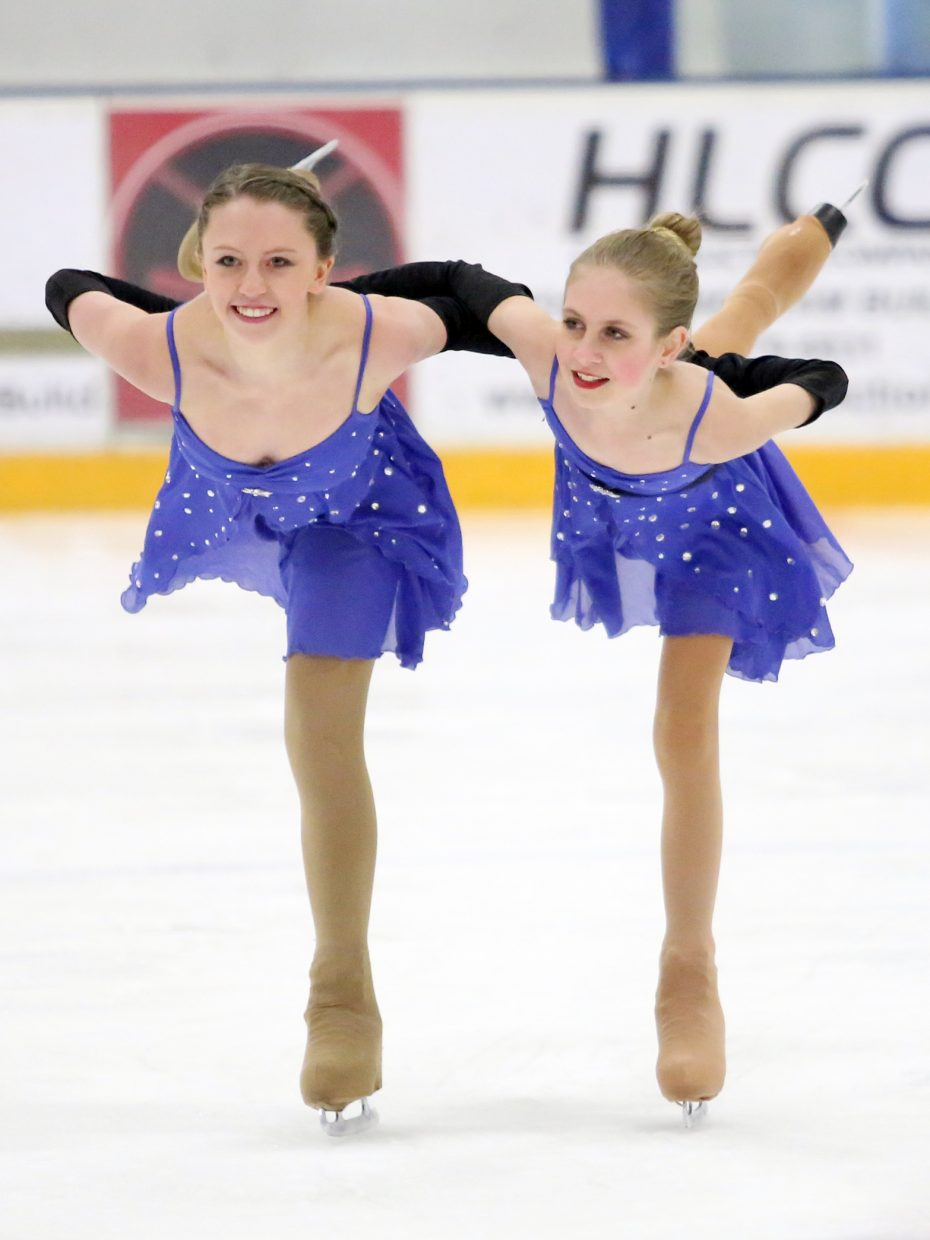 "Serena Van Engelenhoven and Mallory Thomas perform to ""Fight Song"" by Rachel Platten during Sunday's annual Steamboat Springs Figure Skating Club spring ice show at Howelsen Ice Arena."