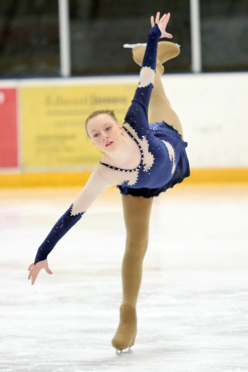 "Ava Maynard performs to ""The Water is Wide"" by James Taylor during Sunday's annual Steamboat Springs Figure Skating Club spring ice show at Howelsen Ice Arena."