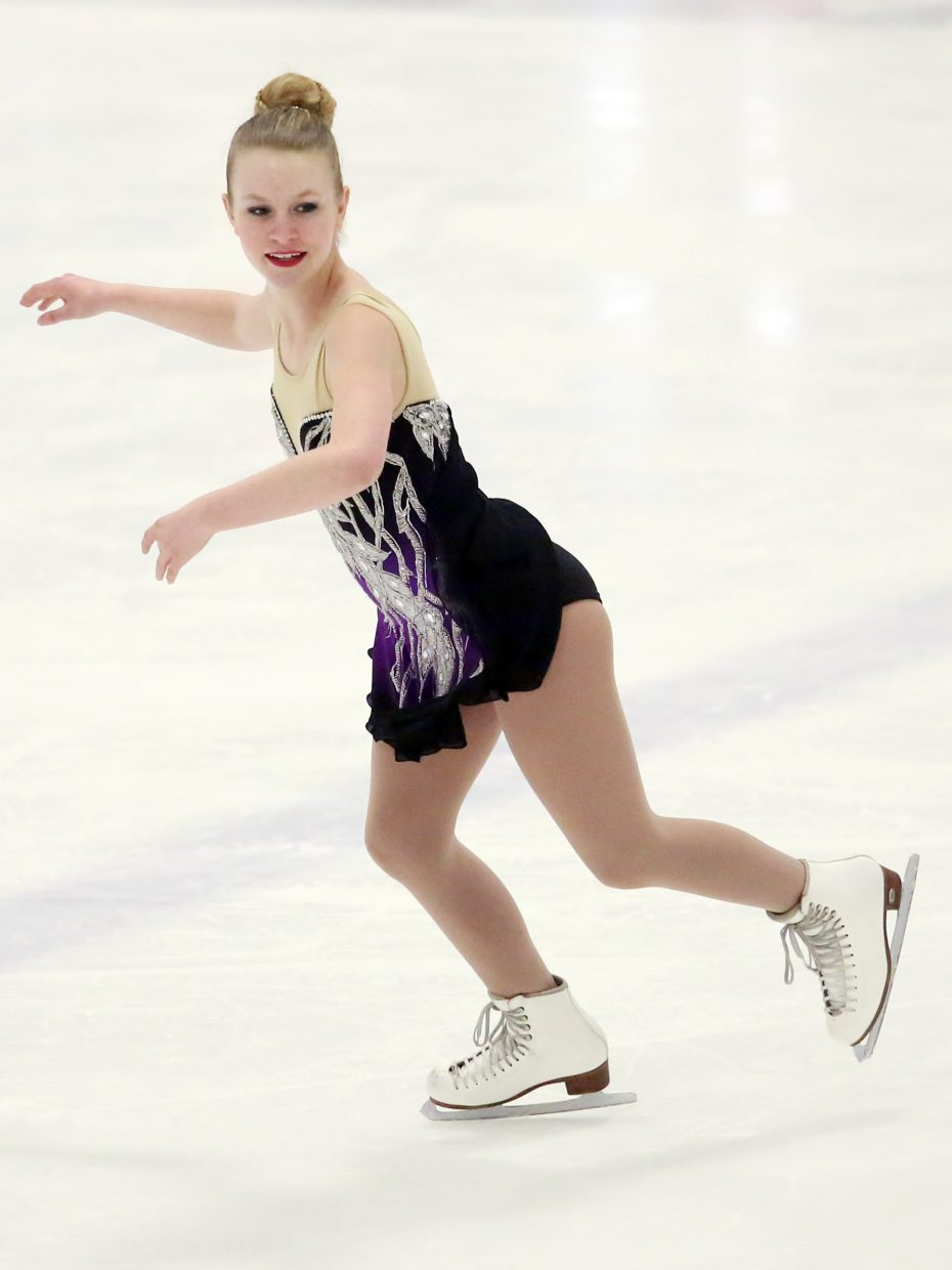 "Guest skater Indigo Enger performs to ""Scorchio"" by Bond during Sunday's annual Steamboat Springs Figure Skating Club spring ice show at Howelsen Ice Arena."