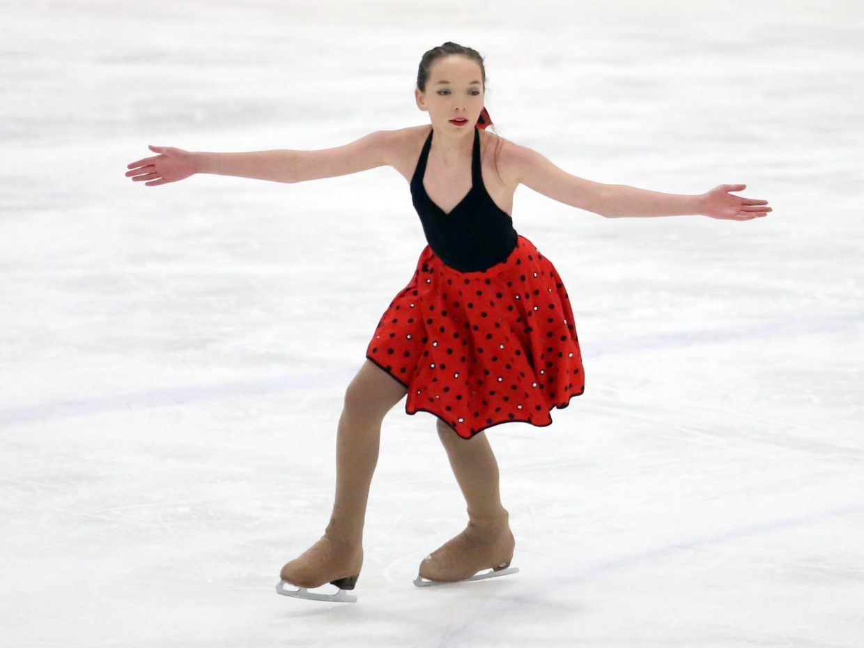 "Natasha Curzon performs to ""Piscine Molitor"" from ""Life of Pi"" during Sunday's annual Steamboat Springs Figure Skating Club spring ice show at Howelsen Ice Arena."