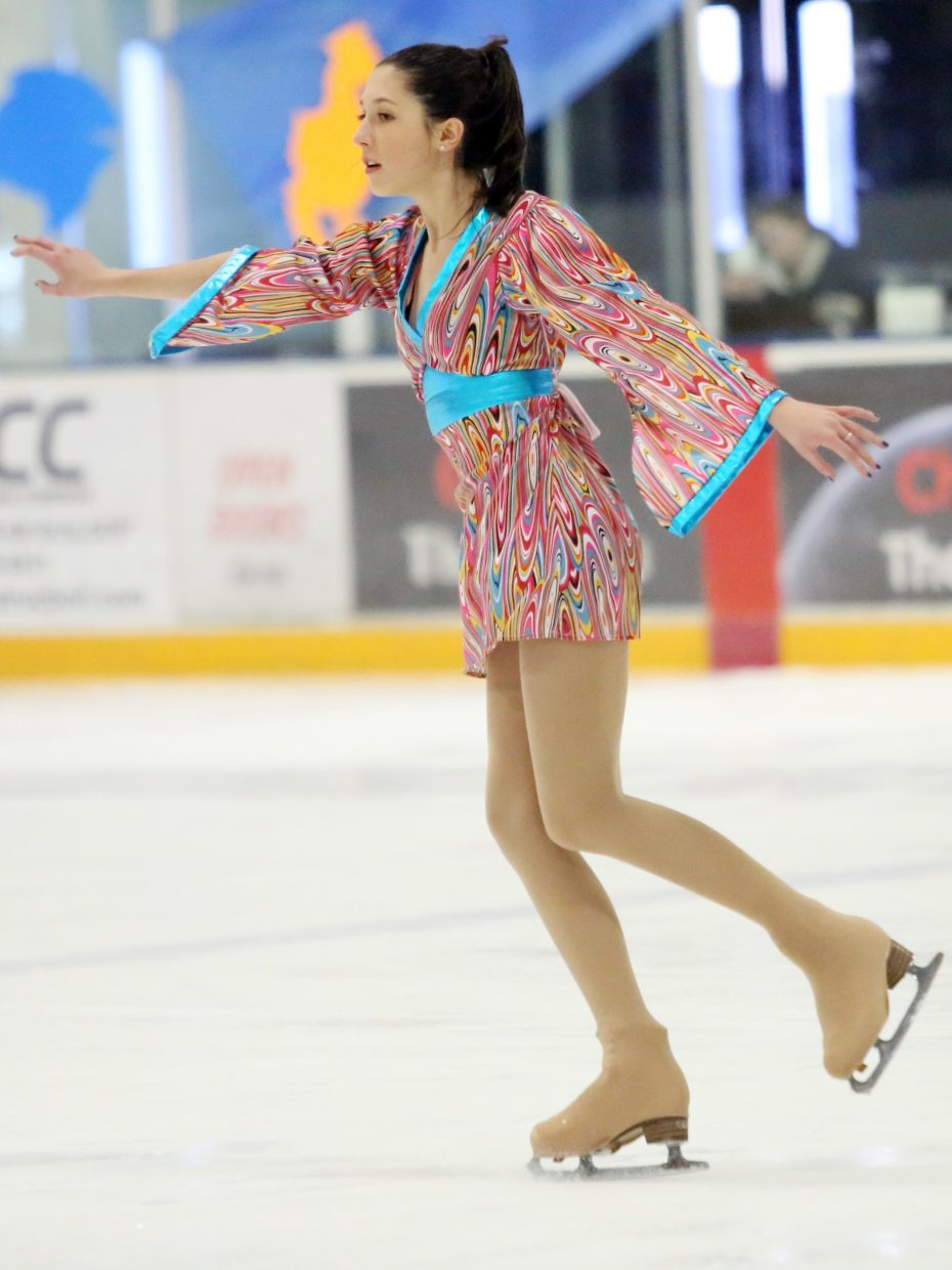 "Gillian Cook performs to ""Come Sail Away"" by Styx during Sunday's annual Steamboat Springs Figure Skating Club spring ice show at Howelsen Ice Arena."