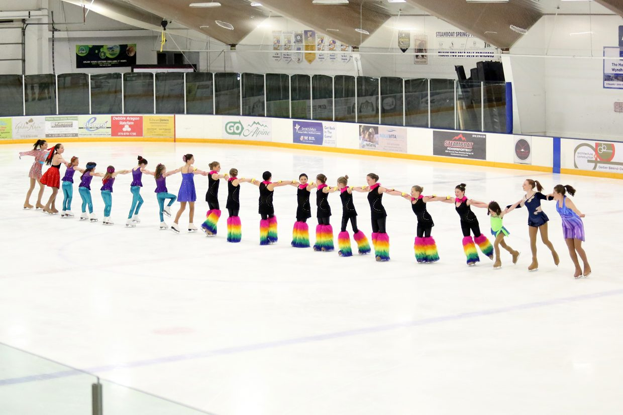 "Members of the Steamboat Springs Figure Skating Club perform to ""Somewhere Beyond the Sea"" by Frank Sinatra in the finale of Sunday's annual Spring Ice Show at Howelsen Ice Arena."