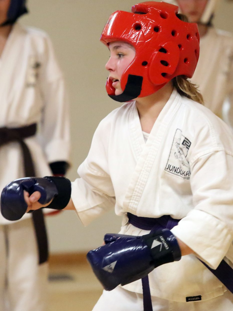 Jordan Ward, 11, trains last week at the Rocky Mountain Karate Academy in Steamboat Springs. Ward is one of nine local students going to nationals this week in Denver.