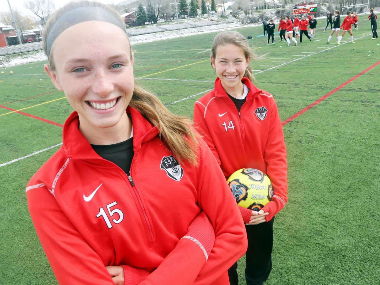 Delaney Moon, left, and Megan Salyer are the only freshmen on the Steamboat Springs High School girls' varsity soccer team this season.