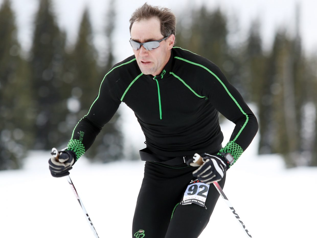 Steamboat Springs resident T.J. Thrasher competes Sunday in the inaugural Rabbit Ears Pass Marathon cross country ski race. Thrasher was second overall in the 34-kilometer race.