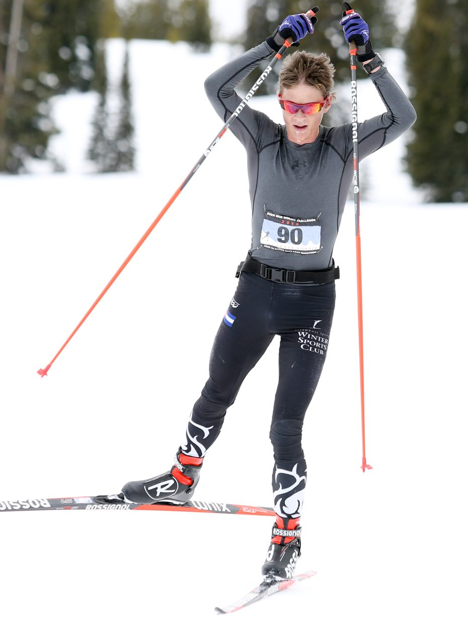 Simon Zink, a Steamboat Springs Winter Sports Club athlete, competes Sunday in the inaugural Rabbit Ears Pass Marathon cross country ski race.