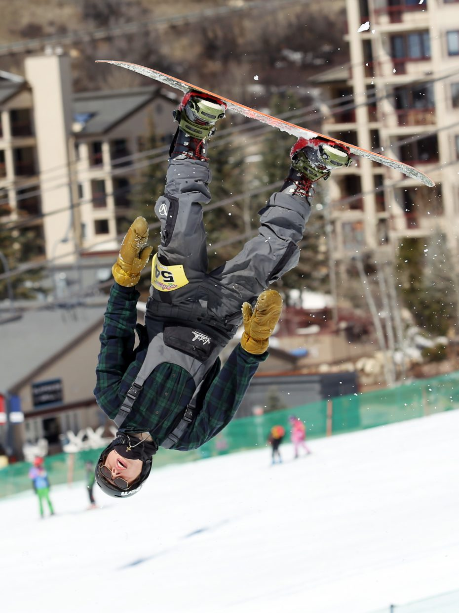 Noah Skelly goes inverted Sunday during the Toes on the Nose Surf Jam, part of Springalicious 2016 at the Steamboat Ski Area.