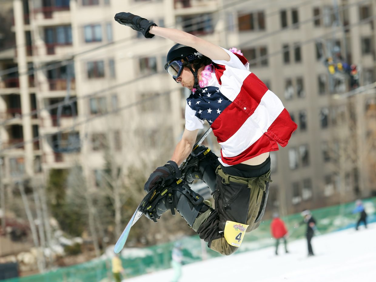 Li Loburn strikes a patriotic pose Sunday during the Toes on the Nose Surf Jam, part of Springalicious 2016 at the Steamboat Ski Area.