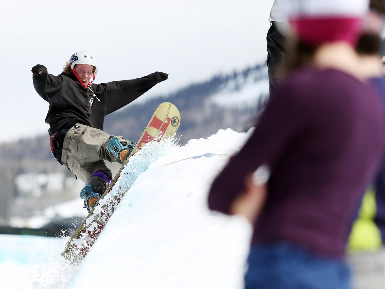 Tommer Wallace gets front and center with the judges Sunday during the Toes on the Nose Surf Jam, part of Springalicious 2016 at the Steamboat Ski Area.