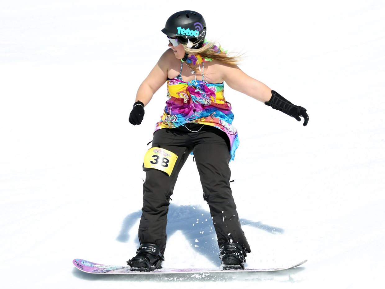 Mariah Starkey eyes a jump Sunday during the Toes on the Nose Surf Jam, part of Springalicious 2016 at the Steamboat Ski Area.