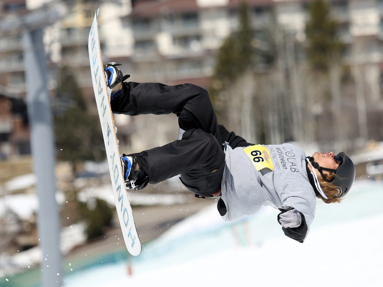 Dalton Vickles gets air Sunday during the Toes on the Nose Surf Jam, part of Springalicious 2016 at the Steamboat Ski Area.