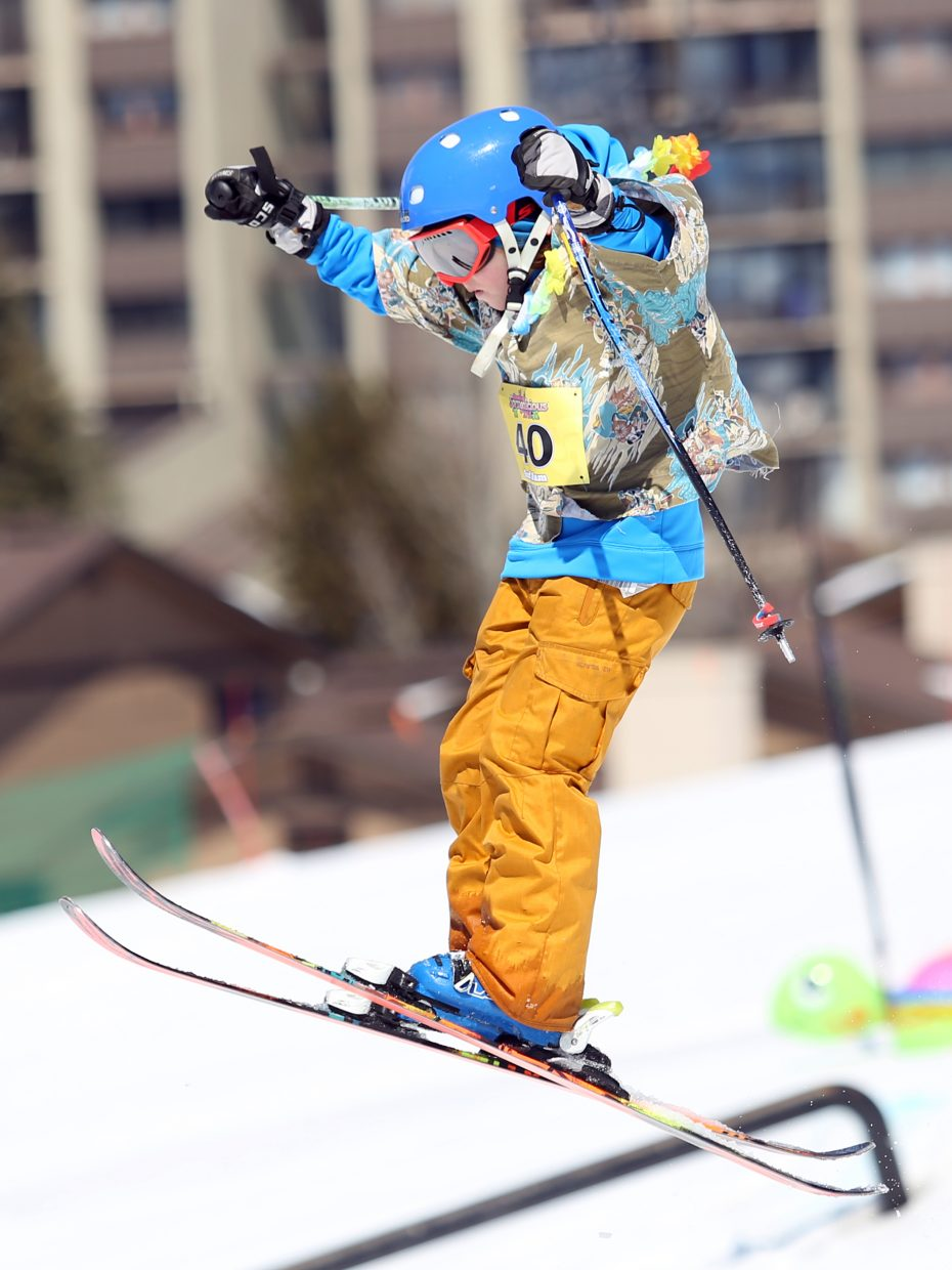 Wiley Wagner, one of the youngest competitors, enjoys Sunday's Toes on the Nose Surf Jam, part of Springalicious 2016 at the Steamboat Ski Area.