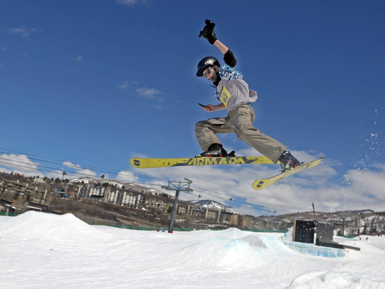 Max Sauerbrey launches himself off a jump Sunday during the Toes on the Nose Surf Jam, part of Springalicious 2016 at the Steamboat Ski Area.