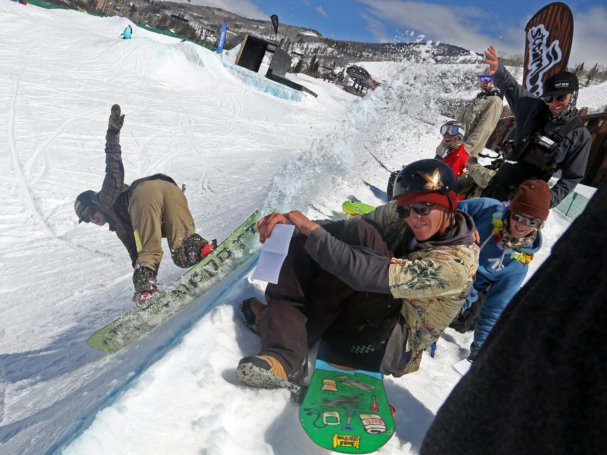 Nick Hussey sprays the judges with snow during one of his runs Sunday at the Toes on the Nose Surf Jam, part of Springalicious 2016 at the Steamboat Ski Area.