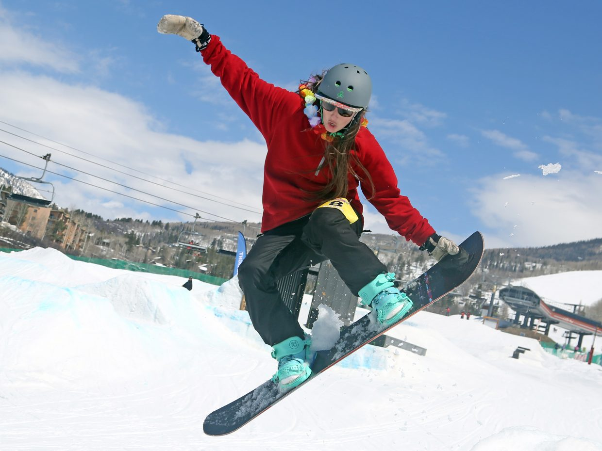 Kaley Lindstrom competes Sunday during the Toes on the Nose Surf Jam, part of Springalicious 2016 at the Steamboat Ski Area.