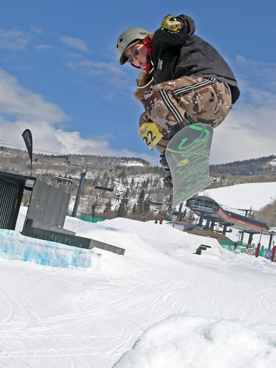 Lacey Slifer gets air Sunday during the Toes on the Nose Surf Jam, part of Springalicious 2016 at the Steamboat Ski Area.