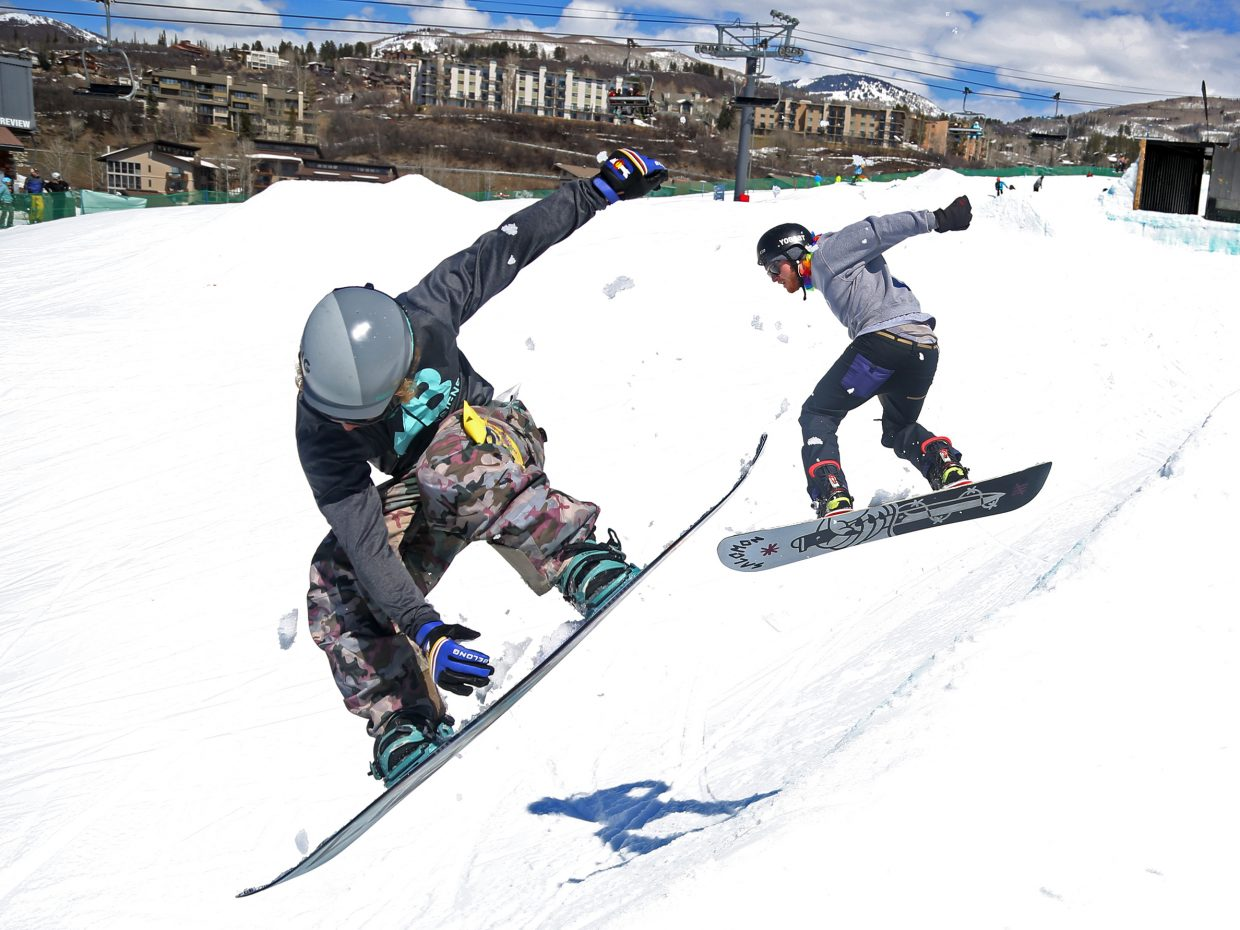 James McManus, left, competes Sunday during the Toes on the Nose Surf Jam, part of Springalicious 2016 at the Steamboat Ski Area.