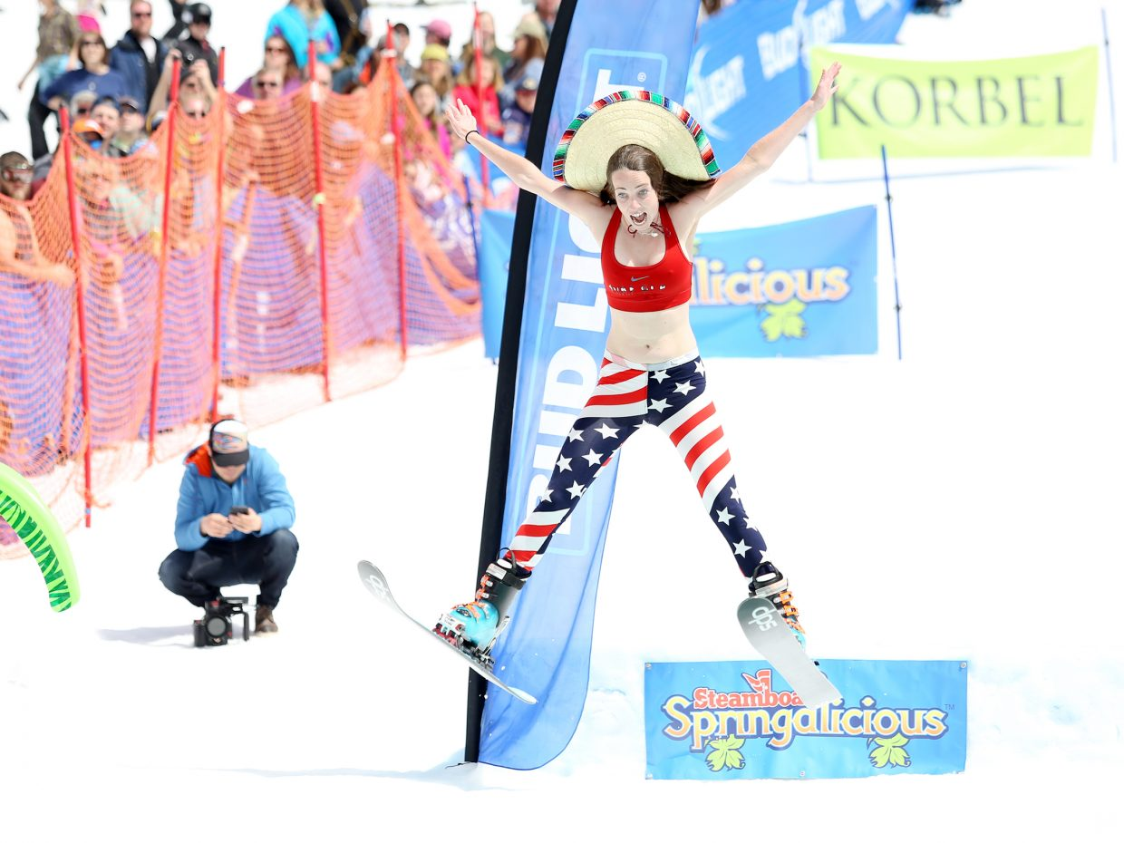 Shelby Smith catches big air off the ramp Sunday during her run at the Splashdown Pond Skim at Steamboat Ski Area.