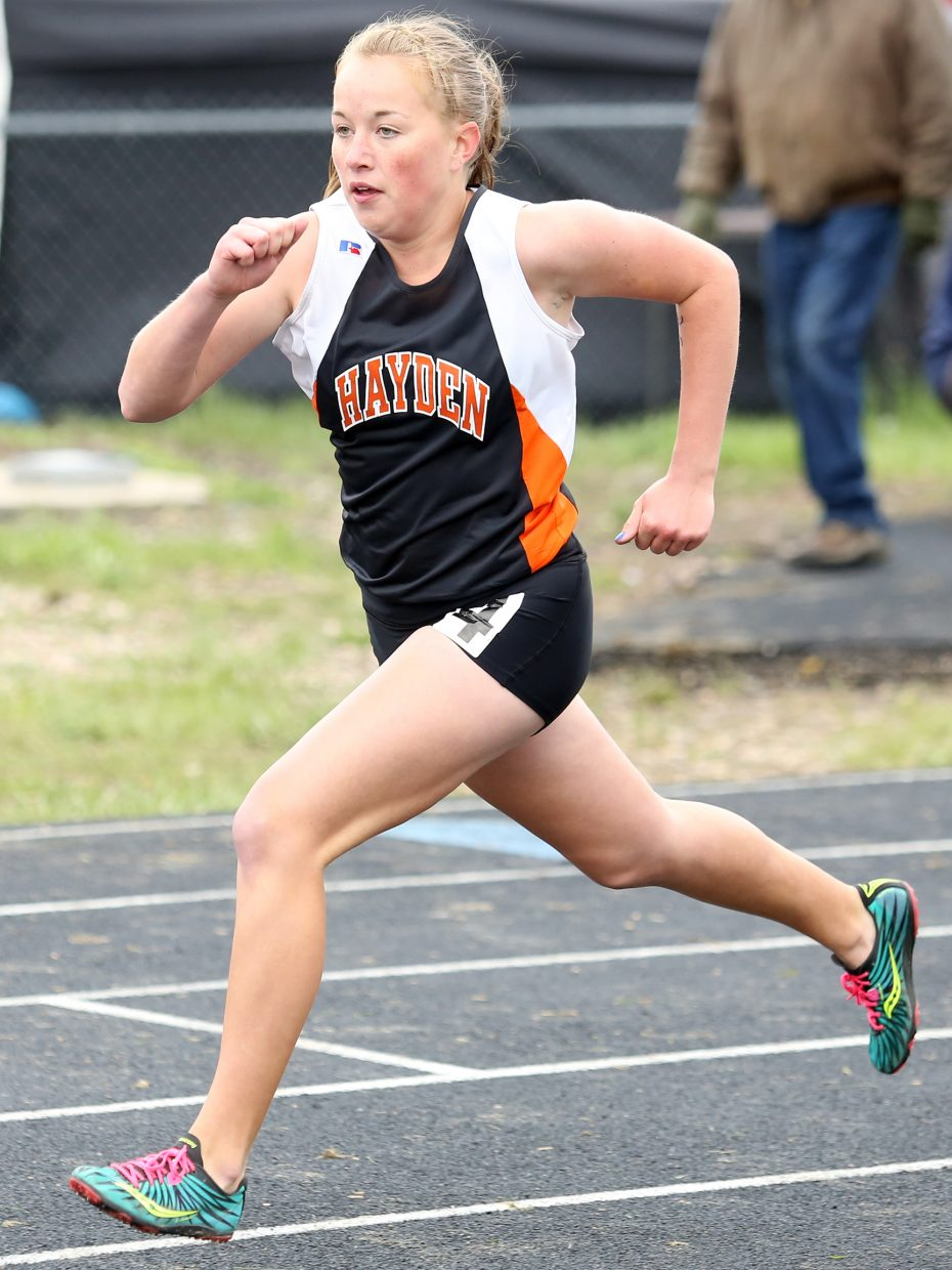 Makenna Knez competes in the girls' 400-meter dash in Craig. Knez will compete in the 3,200, 1,600 and 800 meters at state.