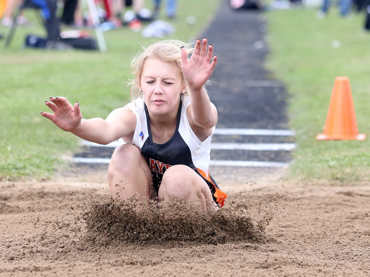 Hayden freshman Paige Barnes competes in the girls' long jump Friday in Craig.