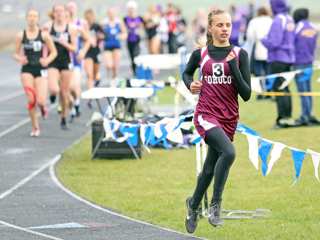 Soroco High School freshman Chloe Veilleux jumps out to a large lead in the girls' 1,600-meter race Friday at the Clint Wells Invitational in Craig. She went on to dominate the race, and would eventually win the girls' 3,200-meter race as well.