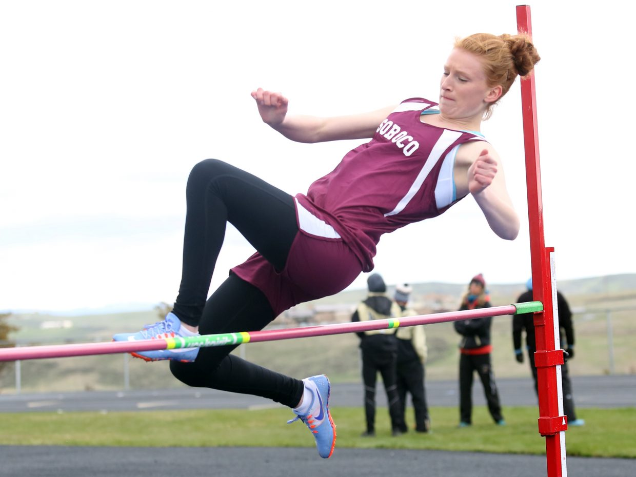 Soroco senior Lucy Carlson competes in the high jump Friday in Craig. Carlson took eighth with a height of 4 feet, 7 inches.