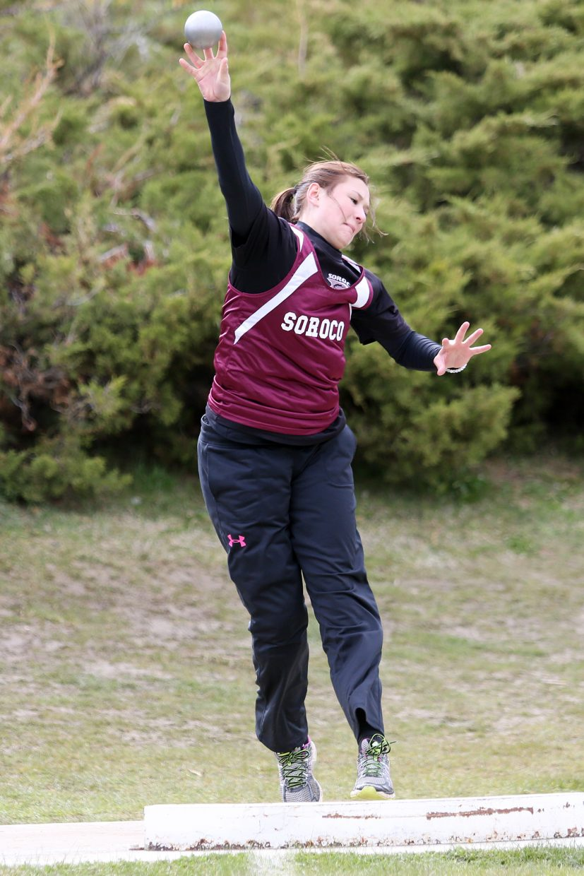 Soroco senior Briana Peterson competes in the girls' shot put Friday in Craig. She took second in the event with a throw of 32 feet, 4 inches.