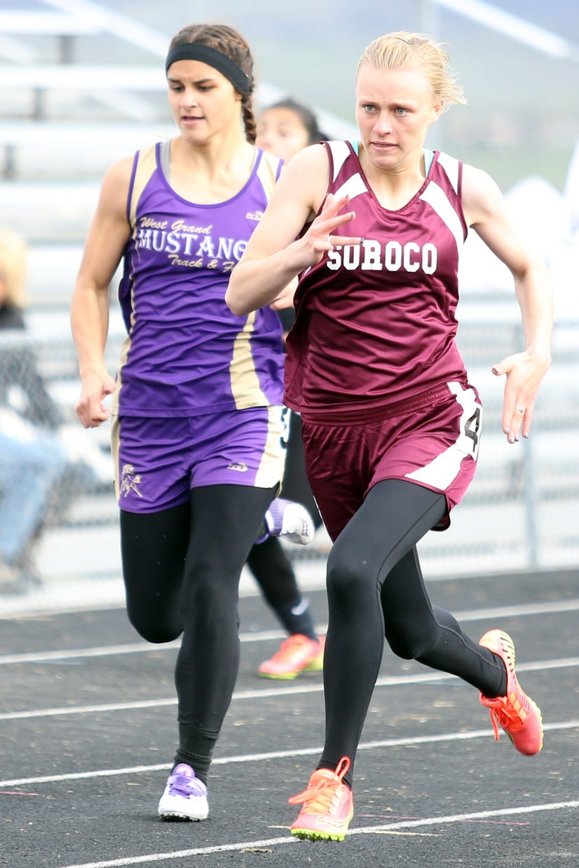Soroco junior Morgan George competes in the girls' 200-meter dash on Friday in Craig.