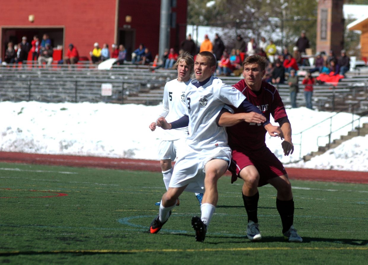 Steamboat senior Carter Kounovsky battles for position with Palisade's Daniel Kachin on Saturday afternoon in the first half of the Sailors' 6-0 win.